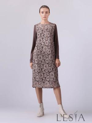 Платье коричневое в принт | 5533145