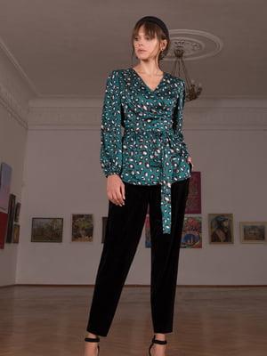 Блуза зеленая в принт | 5593370