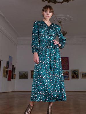 Сукня зелена в принт | 5593372