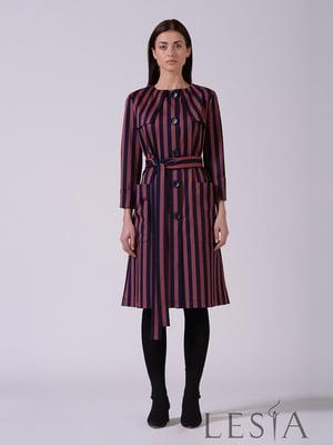 Платье бордовое в полоску | 5593375