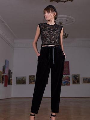 Блуза черная с узором   5593423