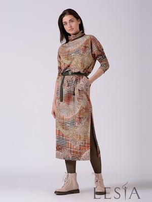 Платье бежевое в принт | 5661841