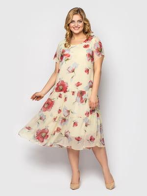Сукня молочного кольору в квітковий принт | 5662338
