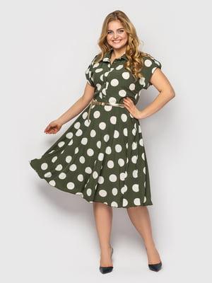 Платье зеленое в горох | 5662347