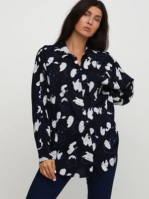 Рубашка синяя в принт | 5662468