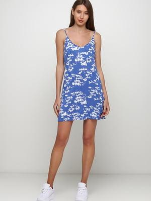 Сукня синя в квітковий принт | 5662550