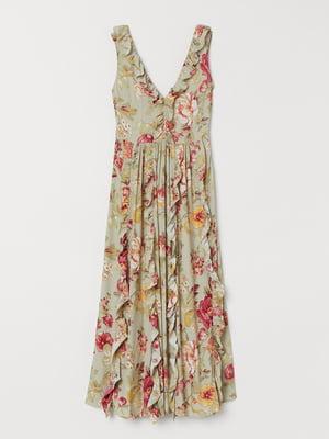 Сукня зеленого кольору в квітковий принт   5662553