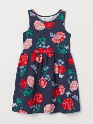 Платье синее в цветочный принт   5662598