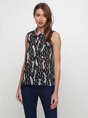 Блуза-топ черная в принт | 5662623