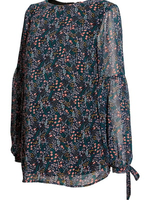 Блуза для беременных синяя в цветочный принт   5662630