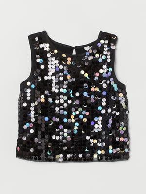 Блуза-топ чорна з декором | 5662640