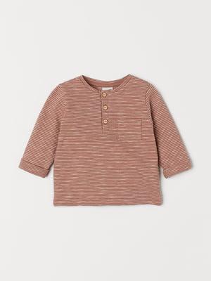 Джемпер-поло коричневый в полоску | 5662767