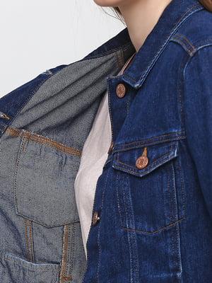 Куртка джинсова синя з декором | 5662782