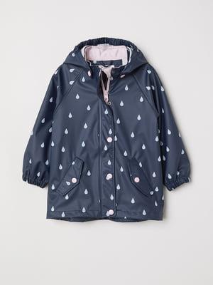 Куртка-дождевик синяя в принт | 5662786