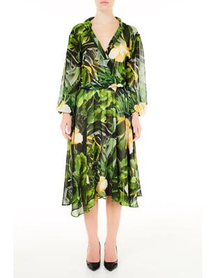 Платье зеленое в принт | 5663522