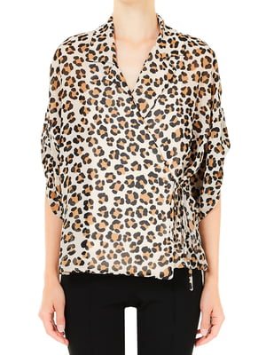 Блуза бежева у принт | 5663524