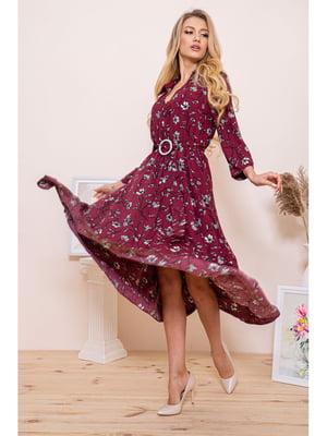 Сукня бордова з квітковим принтом | 5663946