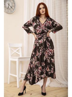 Платье коричневое с цветочным принтом | 5663947