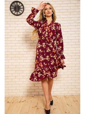 Сукня бордова з квітковим принтом | 5663950