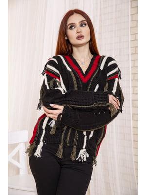 Пуловер чорний в смужку | 5664048