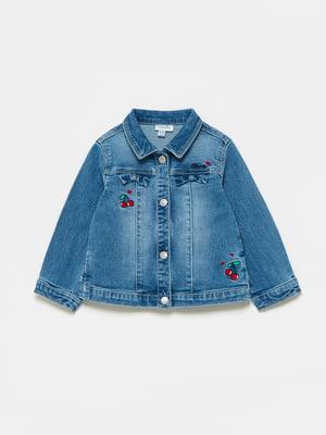 Куртка джинсова синя з малюнком | 5651019