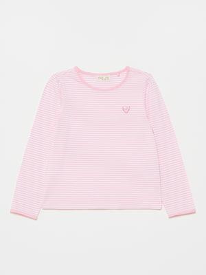 Лонгслів рожевого кольору в смужку і з малюнком | 5651035