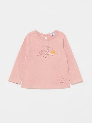 Лонгслив розового цвета с рисунком | 5651118