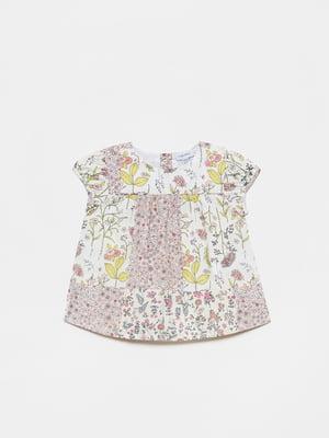 Блуза белая в цветочный принт | 5651138