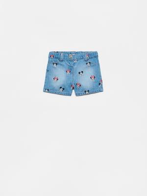 Шорты джинсовые синие с рисунком   5651146