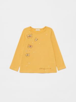 Лонгслив желтый с рисунком | 5651151