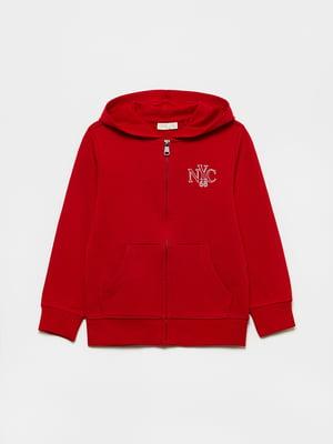 Толстовка красного цвета с логотипом | 5651198