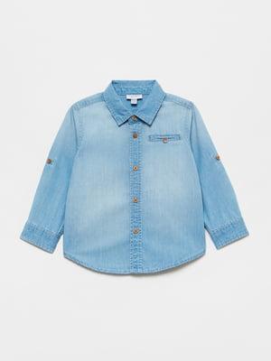 Рубашка джинсовая синяя | 5651294
