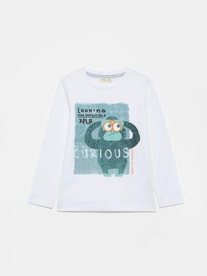 Лонгслив белый с рисунком | 5651317