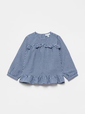 Блуза біло-синя в клітинку | 5651012