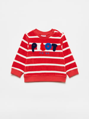 Джемпер червоного кольору в смужку і з малюнком | 5635500