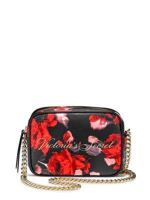 Сумка черная с цветочным принтом | 5665016