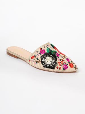 Сабо бежевого цвета с декором-вышивкой | 5663456
