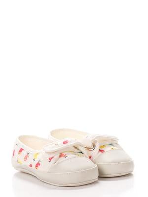 Кеди-туфельки білі у принт | 5666501