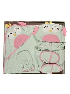 Комплект: халатик, полотенце, тапочки, рукавичка для купания | 5666505