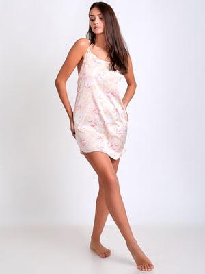 Ночная рубашка молочного цвета в цветочный принт | 5666598