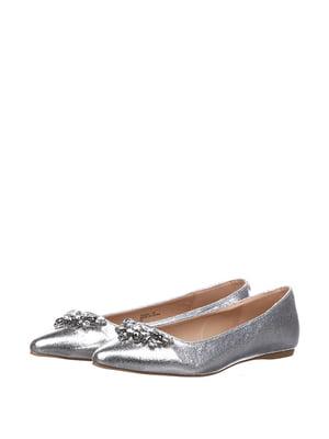 Балетки сріблястого кольору з декором | 5667672