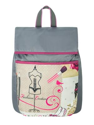 Рюкзак серый в принт | 5668738
