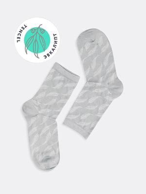 Шкарпетки сірі в принт | 5664829