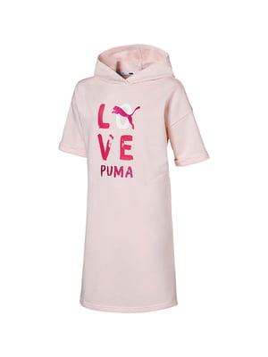 Сукня кольору пудри з малюнком-логотипом | 5670474