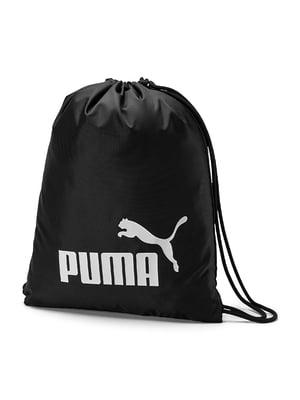 Сумка-мішок спортивна чорна з логотипом | 5670731