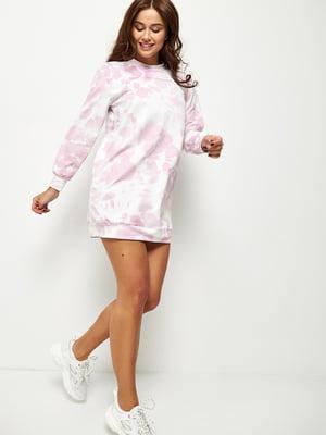 Сукня біло-рожевого кольору в розмитий принт | 5671502