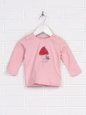 Лонгслів рожевий з малюнком | 5671576