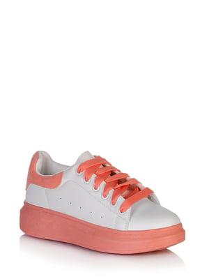 Кроссовки бело-кораллового цвета | 5672606