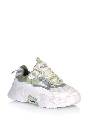 Кросівки біло-зеленого кольору з логотипом | 5672631