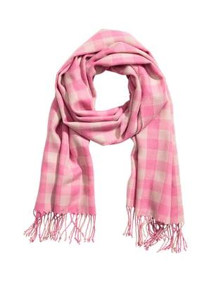 Шарф розовый в клетку   5236604